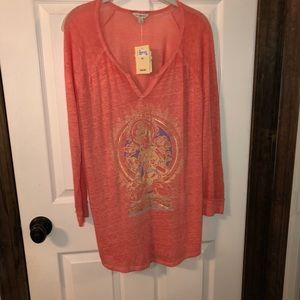 Tops - Sheer coral logo top from Lucky Brand size XL